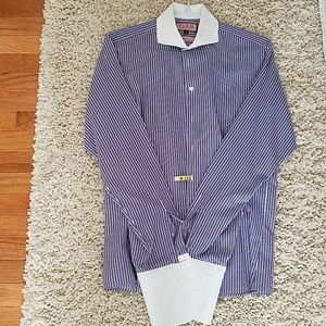 Thomas Pink Blue Pinstripe Dress Shirt
